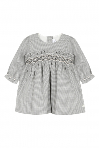 Robe - gris chiné moyen à smocks